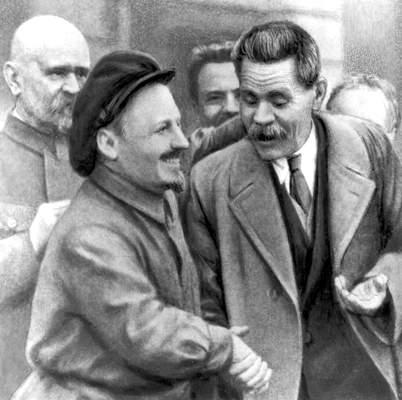 М. Горький и Н. И. Бухарин.